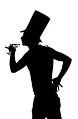 silhouette of a man with a glass of red wine