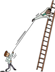 Pulling Man on Ladder