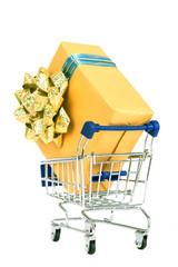 Shopping cart and gift box.