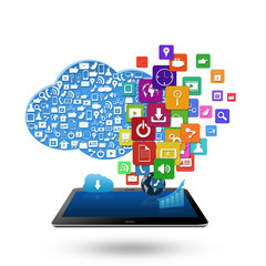 Cloud computing concept, With colorful application icon business