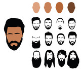 Fototapety Beard styles, vector
