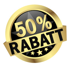 "Button mit Banner "" 50% RABATT """