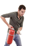 Business man holding fire extinguisher with empty space for your