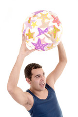 young man ready for the beach, with ball isolated