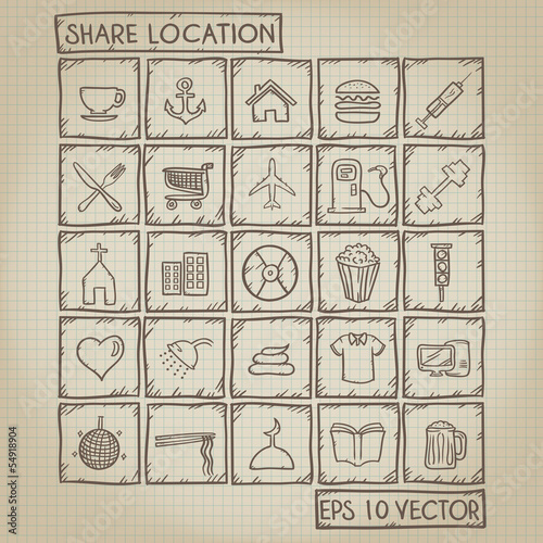 Share Location Icon Doodle Set