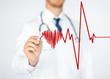 doctor drawing electrocardiogram on virtual screen