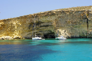 The coast of the small island of Comino in Malta