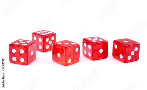 Red dice, isolated on white background