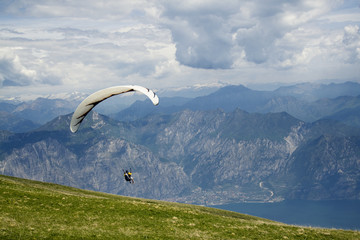Paragliding on mountain
