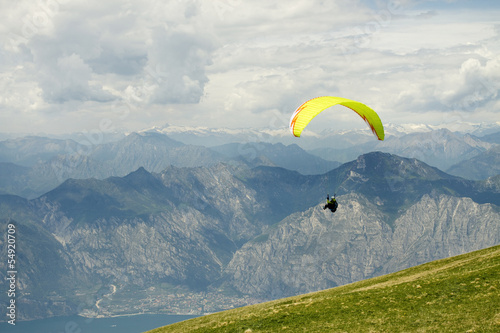 Paragliding on mountain,