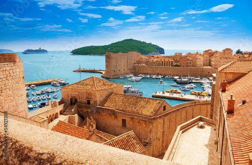 Leinwandbild Motiv Port of Dubrovnik from the walls