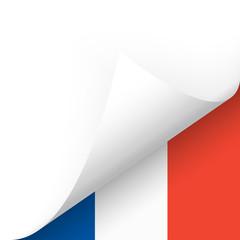 Papier - Ecke unten - Länderflagge Frankreich