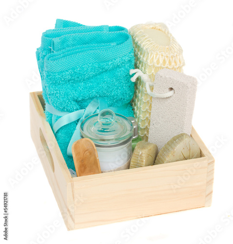box of bath accessories
