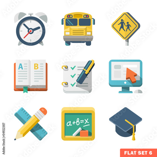 School and Education Flat Icons for Web and Mobile App