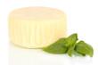 Cheese mozzarella and basil isolated on white