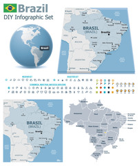 Federative Republic of Brazil maps with markers