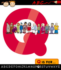 letter q with queue cartoon illustration