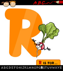 letter r with radish cartoon illustration