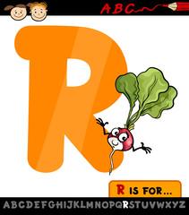 letter r with radish cartoon illustration