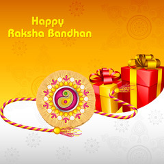 vector illustration of rakhi with gift for Raksha Bandhan