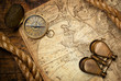 old compass on vintage map 1746