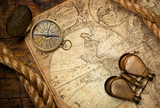 old compass on vintage map 1746 - 54922908