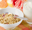 Healthy breakfast - muesli  with yogurt