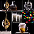 alcohol drinks collage isolated on a black