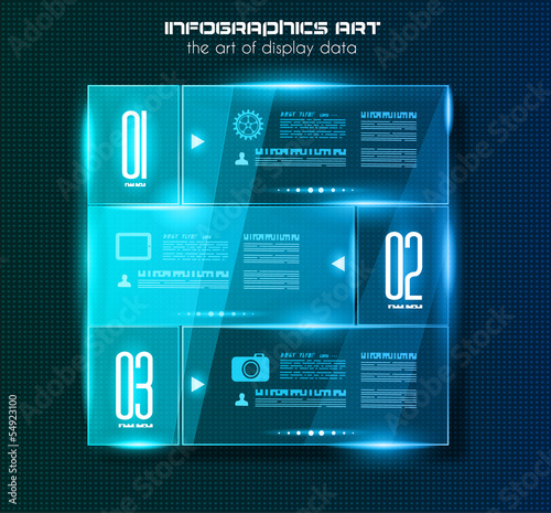 Infographic design template with glass surfaces.