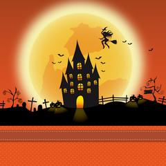 Halloween Schloss mit Hexe Karte Hintergrund