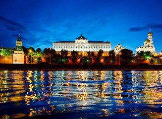 Stunning night view of Kremlin, Moscow, Russia