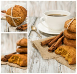 set with oatmeal cookies and coffee