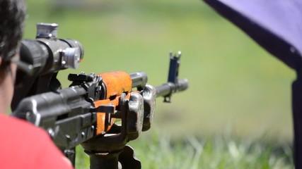 firing SVD Dragunov sniper rifle