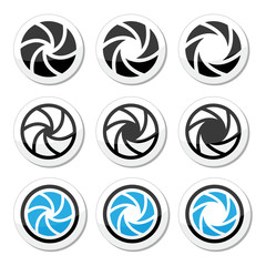 Camera shutter aperture vector icons set