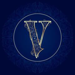 Vintage floral alphabet, letter V