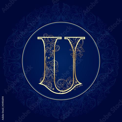 Vintage floral alphabet, letter U