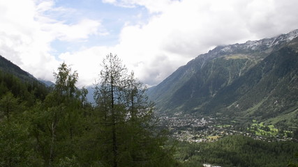 Chamonix village and valley time lapse