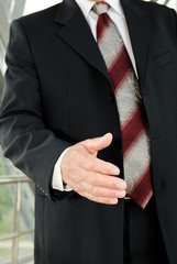 Businessman male hand reached to seal the agreement