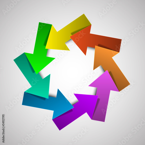 Vector colorful life cycle diagram / schema with eight arrows