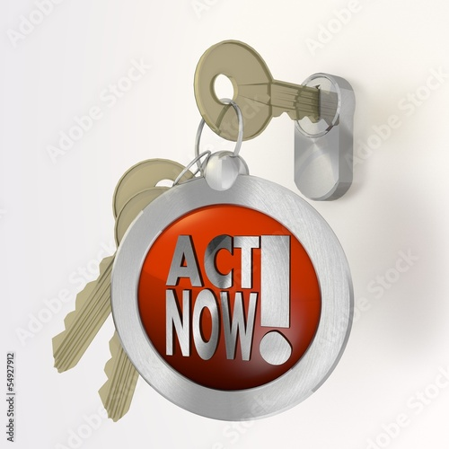 Illustration of a urgent act now sign  on a key