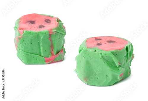 Watermelon Salt Water Taffy isolated