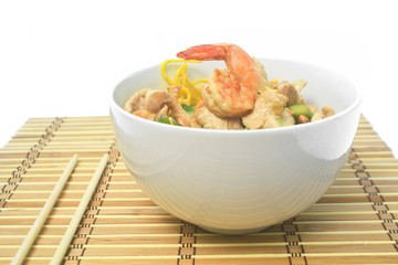 Pan fried noodles with  shrimp and pork.