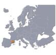 Europakarte mit Katalonien