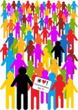color vector illustration with crowd of people icons poster