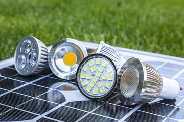 various LED GU10 bulbs on photovoltaics