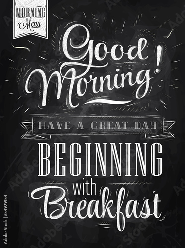 Poster Good morning! breakfast chalk © anna42f