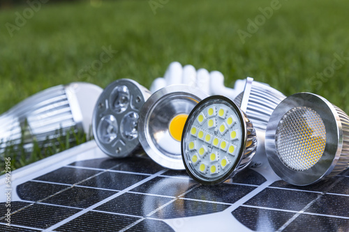 GU10 LED bulbs on Photovoltaics in the grass