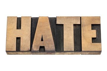 hate word in wood type