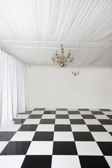 Chequered floor in pop up Marquee