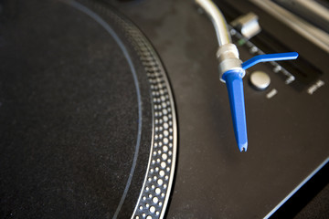 Close-up of turntable and needle